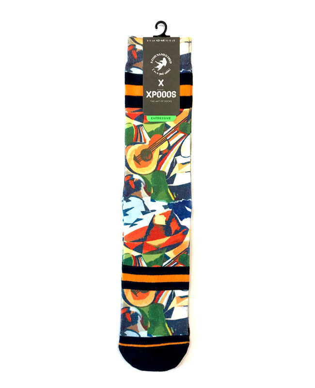 A fish named Fred Socken bedruckt Sombrero Gitarre aus Baumwolle Polyester Stretch