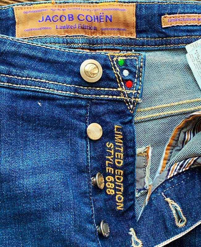Jacob Cohen Jeans Denim LTD Limited Edition blau Ponyfell rot J688